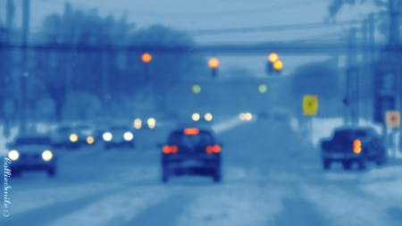 A Blurry Snowstorm - automobiles, traffic, automobile, abstract, traffic lights, blue, blurry, cars, traffic 1ight, co1d
