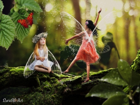 Sweet Fairies - magical, children, fairies, girls, forest, wings, mose, sunlight, fairy dust, sweet, butterfly, plants, beauty