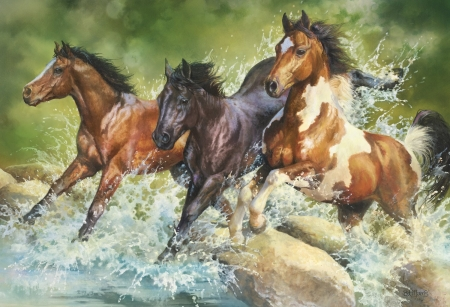 Horses - painting, nature, river, herd
