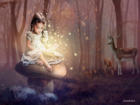 Magical Story - reading, mushroom, book, magical, child, trees, deer, forest, rocks, sweet