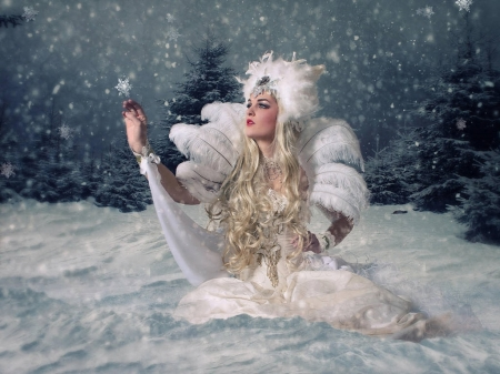 Snow Queen - snowflakes, pine trees, beauty, sky, women, winter, snowing, snow, evening, night