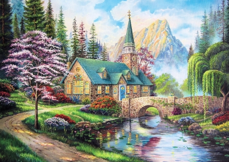 Woodland Seclusion - mountains, bridge, painting, river, church, trees, artwork
