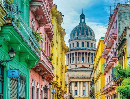 Colorful Cuba Houses Architecture Background Wallpapers
