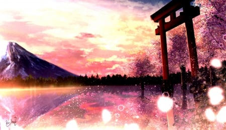 Torii Gate - magic, orginal, scenery, gate, art, sakura, torii, japanese, sky, cherry blossom, japan, fantasy