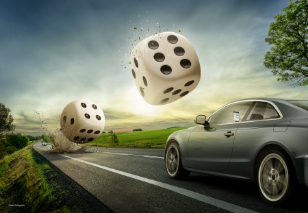 :) - fantasy, car, creative, road, dice, luck, ferdi rizkiyanto