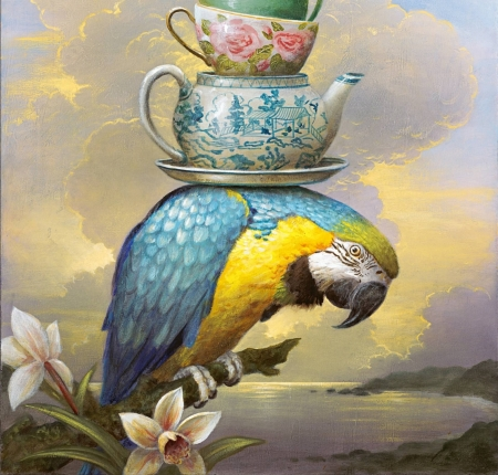 ♥ - pictura, blue, art, kevin corrado, yellow, parrot, teapot, bird, orchid, flower, painting, pasari, cup