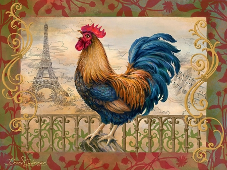The Gallic Rooster - painting, paris, eiffel tower, french