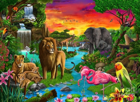 African Paradise - flamingos, elephant, waterfall, parrots, sunset, artwork, lion