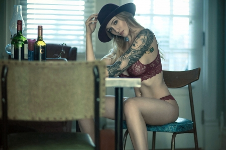 Lost At Poker Again! . . - tattoos, table, hats, cowgirl, ranch, drinks, lingerie, women, chair, blondes, western
