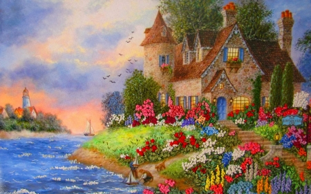Roses Cottage - painting, river, house, roses
