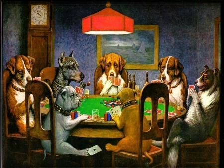 dogs playing poker - table, chair, poker, dogs