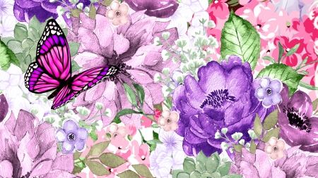 Bundles of Flowers - Firefox theme, butterfly, garden, flowers, summer, blossoms, spring, blooms