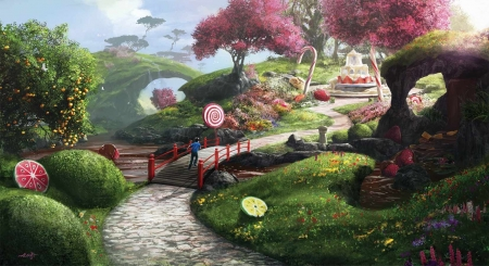 Oniria - aleksi briclot, oniria, garden, pink, lollipop, sweets, luminos, fruit, tree, boy, fantasy, green
