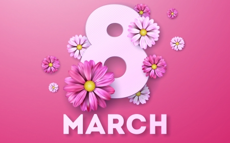 Happy Women's Day! - card, march 8, day, flower, pink, mother, women