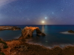 Celestial Alignment over Sicilian Shore