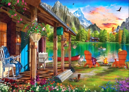 Evening on the Lake - attractions in dreams, nature, spring, lakes, love four seasons, paintings, mountains, sunsets, summer, flowers, garden, cabins