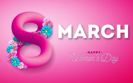 :-) - blue, march 8, day, flower, pink, women, card