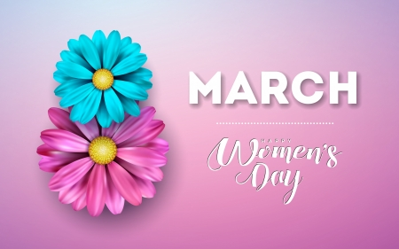 :-) - blue, march 8, day, flowrr, pink, card, women