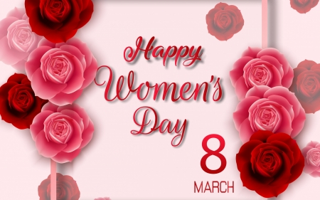 :-) - card, red, march 8, rose, day, pink, women