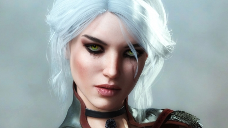 Ciri - girl, the witcher, ciri, face, cirilla, white, kooki99, frumusete, luminos, fantasy