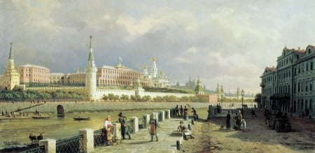 View of the Moscow ~ Kremlin - vereschagin, art, moscow, city, kremlin, people, painting, pictura