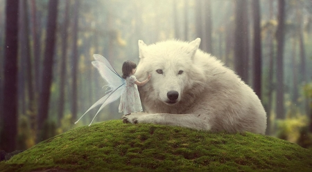 Her biggest friend - fairy, forest, wings, girl, wolf, trees, artwork