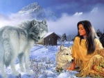 Native Woman With Wolves