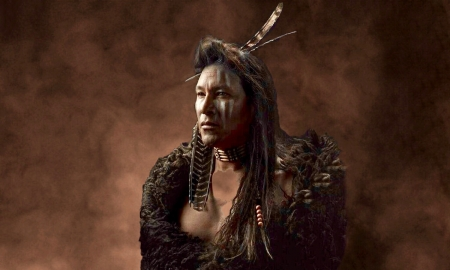 Proud Native Warrior - Indigenous man, stately, warrior, Fur robe, feather, Native American, browns