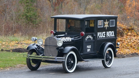 1929 ford model a paddy wagon - ford, grass, model, wagon, chicago, paddy, police