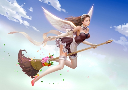 Winged Witch - cg, girl, digital, woman, broom, art, witch, pretty, wings, fantasy, wallpaper