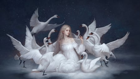 Swan Protector Fantasy Abstract Background Wallpapers On