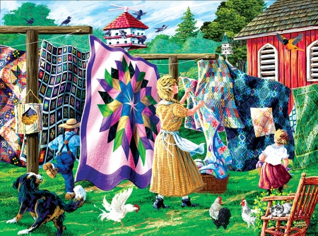 Quilter's Clothesline - textiles, boy, girl, painting, birds, woman, dog, artwork, garden