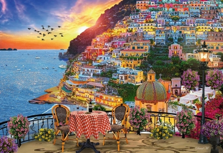Dinner in Positano - chairs, village, sunset, italy, mediterranean, table, houses, birds, sky, artwork, amalfi, painting
