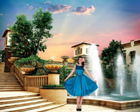 Welcome to the house - woman, welcome, fountain, heaven, home, stairs, trees