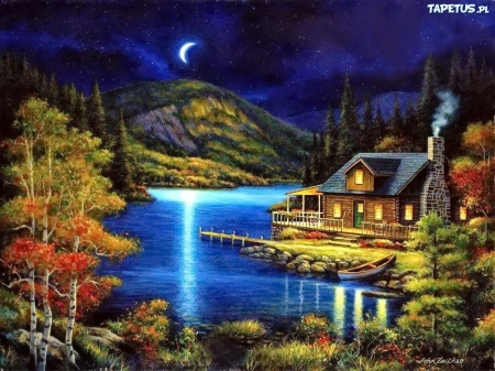 Cabin on Moonlite Lake - lake, light, moon, woods, cabin, puzzle