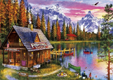 The Fishing Hut - puzzle, lakeside, cabin, mountains
