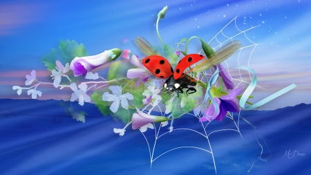 Summer Stuff - ladybug, ribbon, blossoms, flowers, summer, spring, blooms