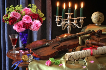 Still Life - blossoms, flowers, violin, candles, art