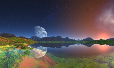 Land of Beautiful Dreams - Magical, Abstract, land, Fantasy, waterl, dreamy, scenic, outdoors, moon, Mountains