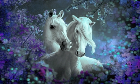 Beautiful Horses and Flowers - lovely, Horses, serene, purple, flowers, animals