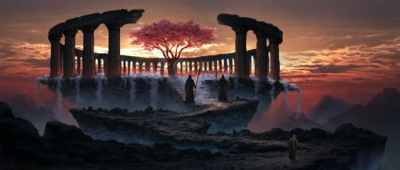Tree of Youth - fantasy, luminos, piotr dura, sunset, silhouette, tree of youth, pink, man, copac, waterfall