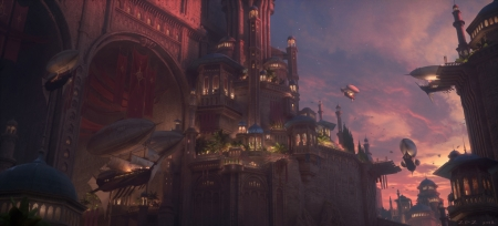 Sunset - fantasy, city, luminos, sunset, pengzhen zhang, pink, castle, night, airship