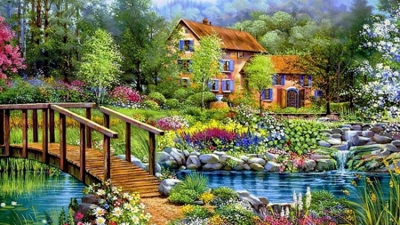 Cottage by the Pond - nature, walking, bridge, painting, flowers, puzzle