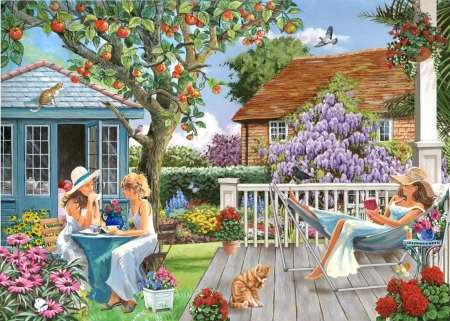 Ladies of Leisure - houses, tree, painting, garden, flowers, girls, artwork
