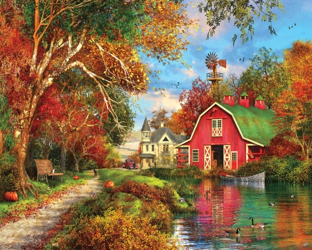 Autumn Barn - path, river, trees, pumpkins, house, victorian, artwork, countryside, boat, leaves, car, painting