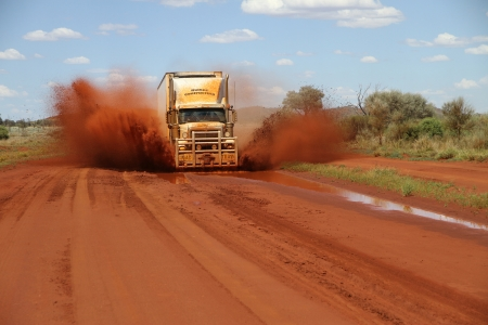 outback truckers - road, water, grass, outback, dirt, truck, dust
