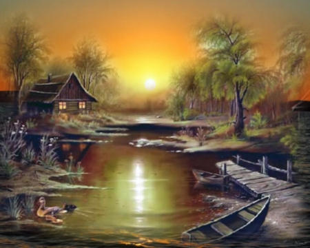 sunset - landscape, hut, boats, ducks, river, sunset, trees