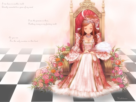 Pretty Princess - cute, female, girl, anime, flower, princess