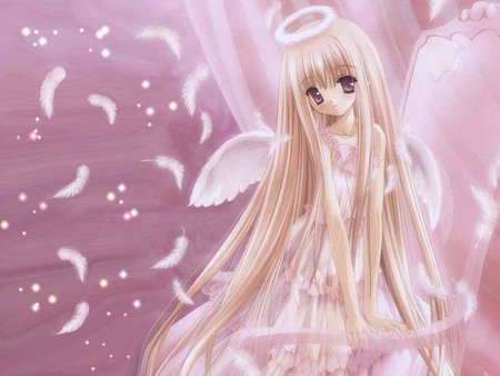 Pink Angel - female, angel, wing, cute, halo, girl, feather, anime, pink