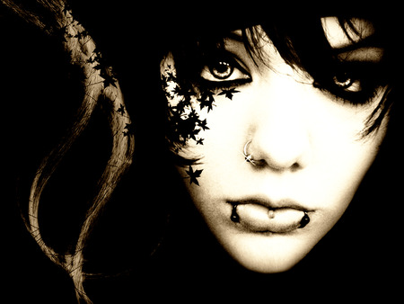 Gothic Girl - art, black, abstract, hair, leaves, fantasy, 3d, girl, gothic, face, eyes